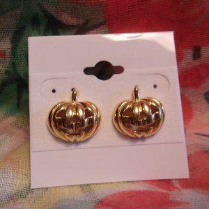 Avon Gold Tone Jack-O-Lantern Pierced Earrings